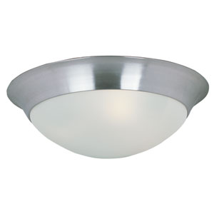 Essentials - 5850 Satin Nickel Two-Light Flushmount with Frosted Glass