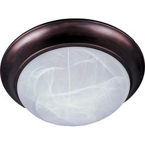 Essentials - 5850 Oil Rubbed Bronze Two-Light Flushmount with Marble Glass