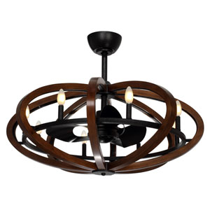 Fandelier Antique Pecan and Anthracite Eight-Light LED Ceiling Fan
