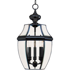 South Park Black Three-Light Outdoor Pendant with Clear Glass