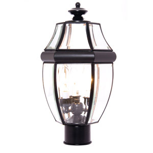 South Park Black Three-Light Outdoor Post Light with Clear Glass