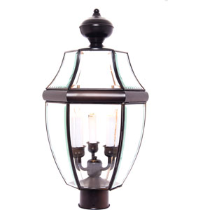 South Park Burnished Three-Light Outdoor Post Light with Clear Glass