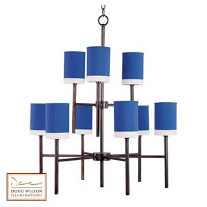 Lido Blue Nine-Light Chandelier