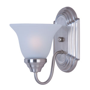Essentials - 801x Satin Nickel One-Light Bath Fixture with Frosted Glass