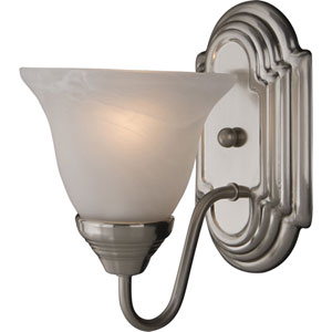 Essentials - 801x Satin Nickel One-Light Bath Fixture with Marble Glass