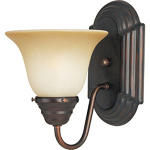 Essentials - 801x Oil Rubbed Bronze One-Light Bath Fixture with Wilshire Glass