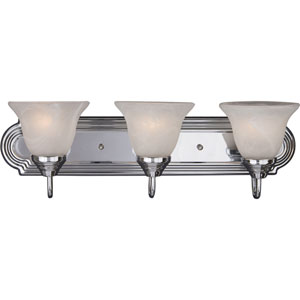 Essentials Polished Chrome Three-Light Bath Light with Marble Glass