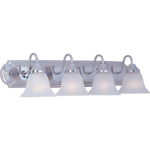 Essentials Polished Chrome Four-Light Bath Light with Marble Glass