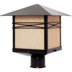 Mission West Burnished One-Light Outdoor Post Light with Iridescent Glass