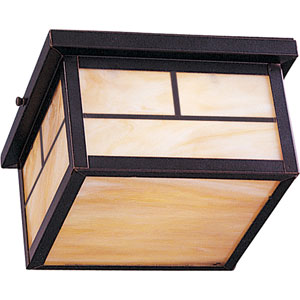 Energy Star Burnished Craftsman Two-Light Outdoor Flush Mount