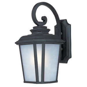 Radcliffe EE Black Oxide Sixteen-Inch Fluorescent Outdoor Wall Sconce with Weather Frost Glass