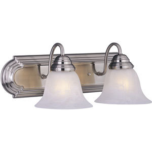 Essentials Satin Nickel Two-Light Bath Light with Marble Glass