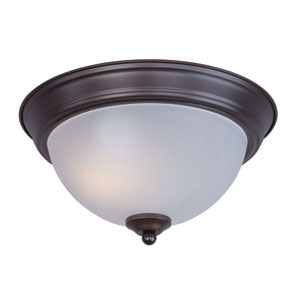 Flush Mount EE Oil Rubbed Bronze One-Light Fluorescent Flushmount with Frosted Glass