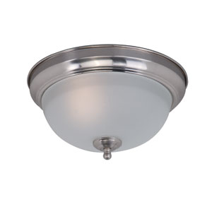 Flush Mount EE Satin Nickel One-Light Fluorescent Flushmount with Frosted Glass