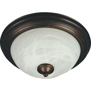 Flush Mount EE Oil Rubbed Bronze One-Light Fluorescent Flushmount with Marble Glass