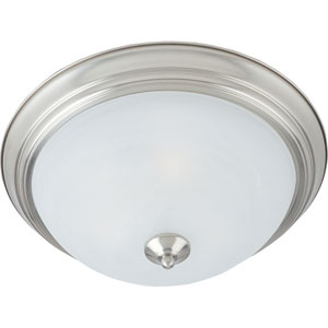 Flush Mount EE Satin Nickel One-Light Fluorescent Flushmount with Marble Glass