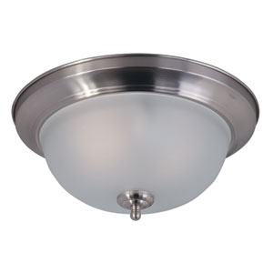 Flush Mount EE Satin Nickel Two-Light Eleven-Inch Fluorescent Flushmount with Frosted Glass
