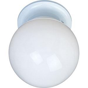 Utility EE White One-Light Fluorescent Six-Inch Flushmount