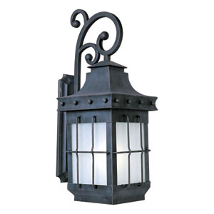 Nantucket EE Country Forge Title 24 One Light Outdoor Wall Mount with Frosted Seedy Glass