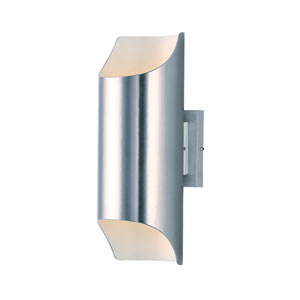 Lightray LED Brushed Aluminum Six-Inch Two-Light LED Outdoor Wall Mount