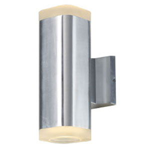 Lightray Brushed Aluminum LED Two-Light 10-Inch Outdoor Wall Mount