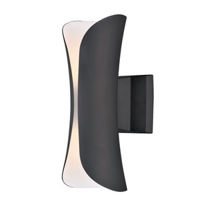 Scroll Architectural Bronze 14-Inch Two-Light LED Outdoor Wall Mount