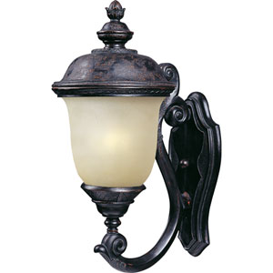 Carriage House Oriental Bronze One-Light Outdoor Wall Mount with Mocha Glass