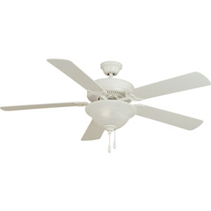 Matte White 52-Inch Ceiling Fan with White/Light Oak Blades