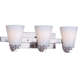 Conical Satin Nickel Three-Light Bath Light with Satin White Glass