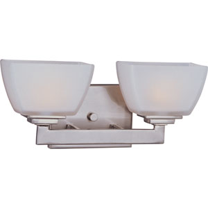 Angle Satin Nickel Two-Light Bath Fixture