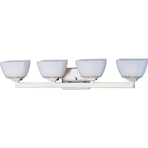 Angle Satin Nickel Four-Light Bath Fixture