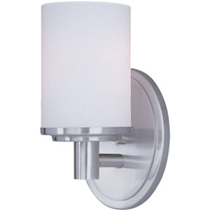 Cylinder Satin Nickel One-Light Bath Light with Satin White Glass