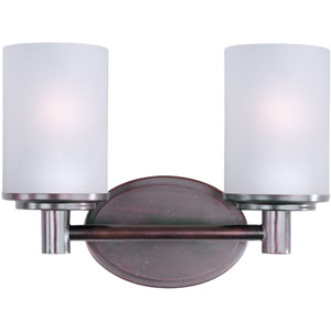 Cylinder Oil Rubbed Bronze Two-Light Bath Light with Satin White Glass