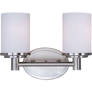 Cylinder Satin Nickel Two-Light Bath Light with Satin White Glass