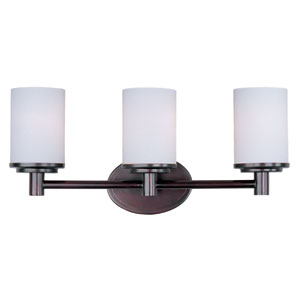 Cylinder Oil Rubbed Bronze Three-Light Bath Light with Satin White Glass