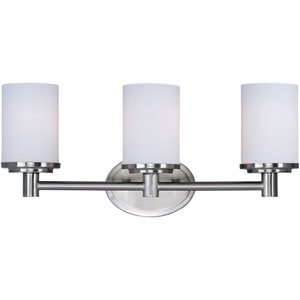 Cylinder Satin Nickel Three-Light Bath Light with Satin White Glass
