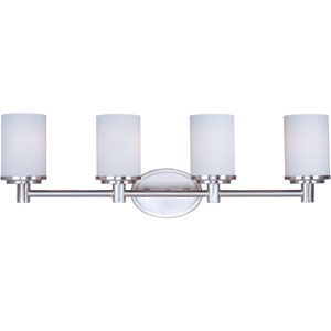 Cylinder Satin Nickel Four-Light Bath Light with Satin White Glass