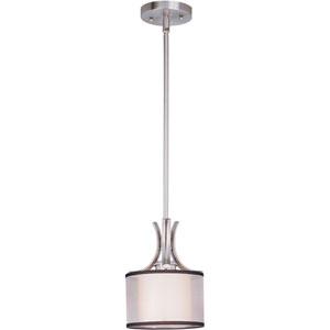 Orion Satin Nickel One-Light Mini Pendant with Satin White Glass
