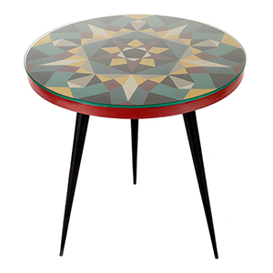Prismatic Geometric Patterned Multicolor 22-Inch Round Accent Table