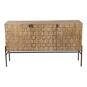 Dixie Gray Solid Mango Wood Six Shelf Sideboard