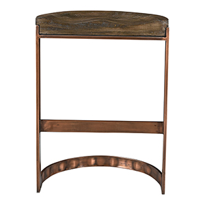 Bancroft Gray Counter Stool With Copper Detailing