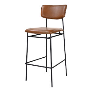 Sailor Brown and Black Bar Stool with Low Backrest
