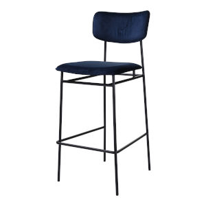 Sailor Blue and Black Bar Stool with Low Backrest