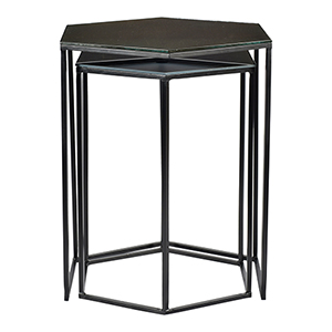 Polygon Black Glass Top Accent Table, Set Of Two