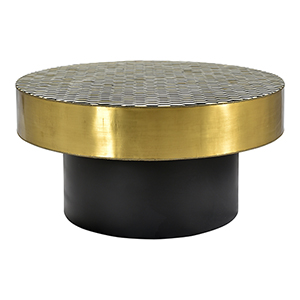 Optic Brass Geometric Patterned Round Coffee Table
