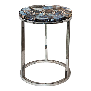 Shimmer Silver Agate 21-Inch Accent Table