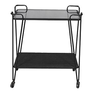 Fielding Black Sleek Mirrored Top Bar Cart