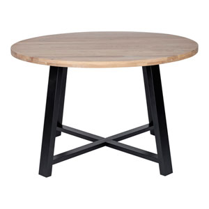Mila White Oil and Black 47-Inch Round Dining Table