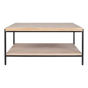 Mila White Oil and Black 33-Inch Coffee Table