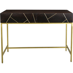 Tyler Brown Gold Accent Desk